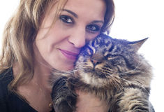 Maine coon cat and woman Stock Photo