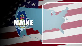 Maine Countered Flag and Information Panel stock video