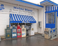 Maine Diner with six newspaper stands Wells Maine Royalty Free Stock Photo