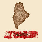 Maine distressed map. Royalty Free Stock Images