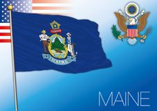 Maine federal state flag, United States. Vector illustration Royalty Free Stock Photography