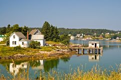 Maine fishing village. An view of a private home and a fishing shack on a dock near a scenic fishing village on beautiful and quaint Swans Island, Maine Royalty Free Stock Photo
