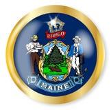 Maine Flag Button Fotografie Stock