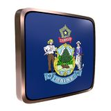 Maine flag icon. 3d rendering of a Maine State flag icon with a bright frame. Isolated on white background Stock Photo