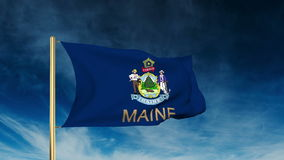 Maine flag slider style with title. Waving in the stock video