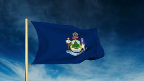 Maine flag slider style. Waving in the win with. Maine flag slider style. Waving with cloud background animation stock video footage
