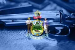 Maine flag U.S. state Gun Control USA. United States Gun Law. S Stock Photography