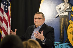 Maine Governor Paul LePage. Maine Governor, Paul LePage, speaks at a town hall event Stock Photos