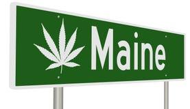 Maine highway sign with marijuana leaf Stock Photo