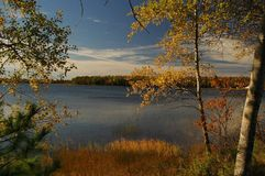 Maine Lake in the fall royalty free stock photography