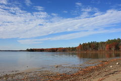 Maine lake in fall Stock Photo