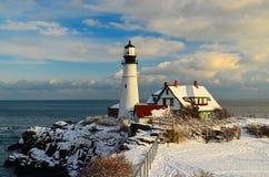 Maine latarnia morska w zimie Zdjęcie Stock