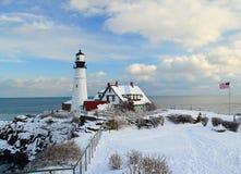 Maine latarnia morska w zimie Obrazy Stock