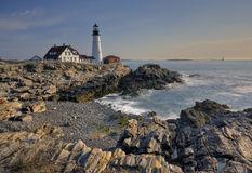 Maine lighthouse. Maine coast with Fort Williams Lighthouse in the early morning Stock Photography