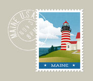 Maine lighthouse and Atlantic coast. Maine postage stamp design. Vector illustration of lighthouse and Atlantic coast. Grunge postmark on separate layer Stock Image