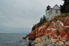 Maine Lighthouse on a Cliff Royalty Free Stock Image