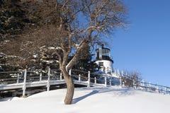 Maine Lighthouse Covered na neve Fotos de Stock