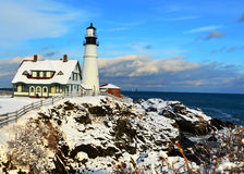 Maine Lighthouse im Winter Lizenzfreies Stockbild