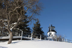 Maine Lighthouse After Snowstorm Arkivfoton