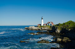 Maine lighthouse in summertime Stock Photos