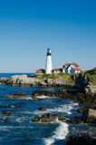 Maine Lighthouse in summertime Stock Photo