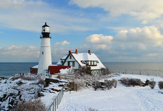 Maine Lighthouse in winter Royalty Free Stock Photography