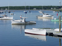 Maine lobster boats in harbor. Royalty Free Stock Images