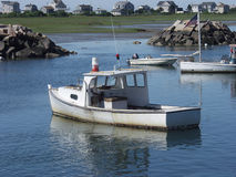 Maine lobster boats in harbor. Stock Images