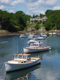 Maine lobster boats in harbor. Royalty Free Stock Photos