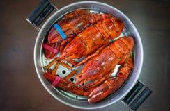 Maine Lobster in de ijzerstoomboot Royalty-vrije Stock Afbeeldingen