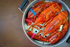 Maine Lobster in de ijzerstoomboot Stock Afbeelding