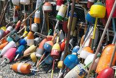 Maine Lobster Floats. Lobster floats hanging from a fence in Kennebunkport. Maine, USA Stock Photos