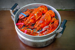 Maine Lobster in the iron steamer Royalty Free Stock Photos