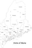 Maine map. Maine state contour with capital, countie and countie Seat. Vector illustration Stock Photos