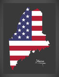 Maine map with American national flag illustration Royalty Free Stock Image