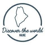 Maine Map Outline Tappning upptäcker världen Royaltyfri Fotografi