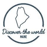 Maine Map Outline. Vintage Discover the World. Royalty Free Stock Photography
