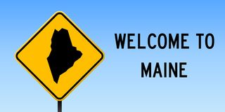 Maine map on road sign. Wide poster with Maine us state map on yellow rhomb road sign. Vector illustration royalty free illustration