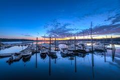 Maine Marina bei Sonnenaufgang stockfotos