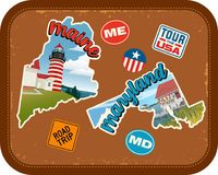 Maine, Maryland travel stickers with scenic attractions. And retro text on vintage suitcase background Royalty Free Stock Photo