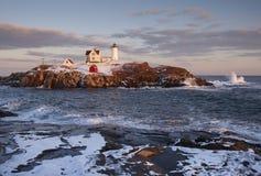 Maine Nubble latarnia morska Podczas zimy Fotografia Stock