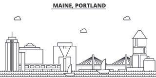Maine, Portland architecture line skyline illustration. Linear vector cityscape with famous landmarks, city sights Stock Photos