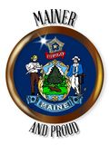 Maine Proud Flag Button Immagine Stock