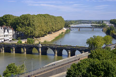 The Maine river at Angers in France Stock Images