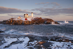 Maine's Nubble Lighthouse During Winter Stock Photography