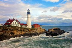 Portland Head Lighthouse, Cape Elizabeth, Maine. Maine`s Portland Head Lighthouse is said to be the most visited lighthouse in the world, with more than 1.2 Stock Photography