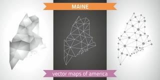 Maine-Satz Grau und polygonale Karten des Silbermosaiks 3d Grafische Vektordreieckgeometrieentwurfs-Schattenperspektive zeichnet  Lizenzfreie Stockbilder