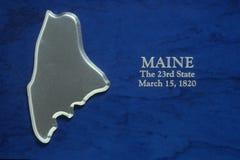 Maine srebna Mapa Obrazy Stock