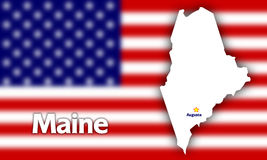 Maine state contour. With Capital City against blurred USA flag Royalty Free Stock Photo