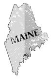 Maine State and Date Map Grunged. A grunged Maine state outline with the date of statehood isolated on a white background Stock Image